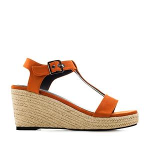 Chaussures compensées T-Bar en suèdine Orange.