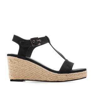 Sandale na platformu od plute, crne