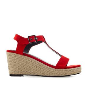 Chaussures compensées T-Bar en suèdine Rouge.