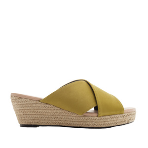 Cross-band Sandals in Lime-Yellow Suede