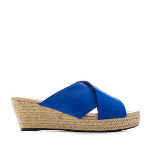 Cross-band Sandals in Blue Suede
