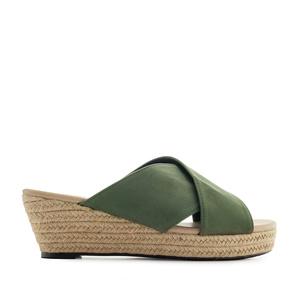 Papuče Mule sa plutanom platformom, maslinasto zelene