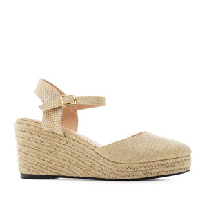 Espadrilles in Shiny-Beige Fabric