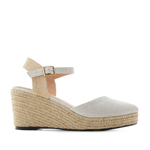 Espadrilles in Shiny-Grey Fabric