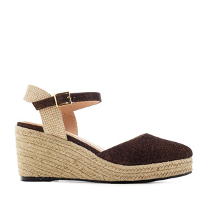 Espadrilles in Shiny-Brown Fabric