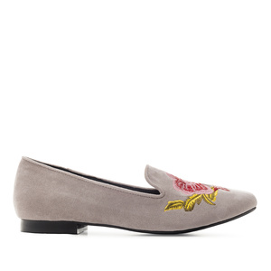 Flower Slippers in Grey Suede