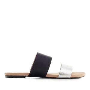 Pantofle široké pásky. Černá, stříbrná.