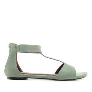 Semišové T-bar sandále. Zelená olivová.