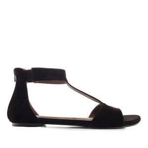 Semišové T-bar sandále. Černá.