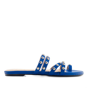 Tack Sandals in Deep Blue faux Leather