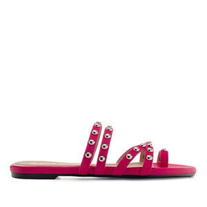 Tack Sandals in Fuchsia faux Leather
