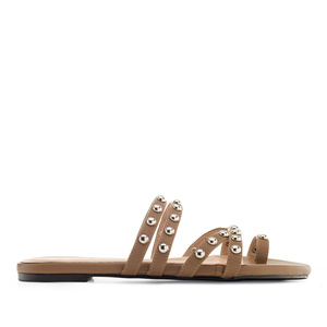 Tack Sandals in Brown faux Leather