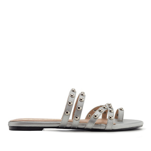 Tack Sandals in Silver faux Leather