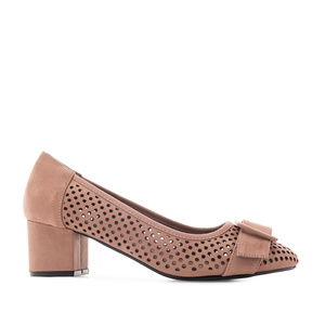 Heeled Shoes in Nude Die-Cut Suede