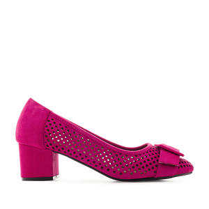 Heeled Shoes in Fuchsia Die-Cut Suede