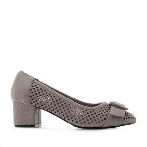 Heeled Shoes in Grey Die-Cut Suede