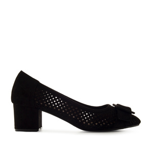 Heeled Shoes in Black Die-Cut Suede