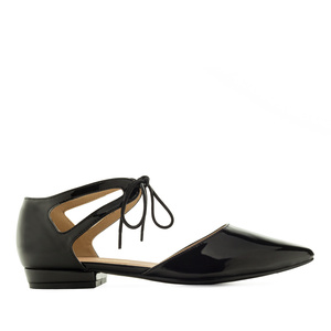 Lace-Up Ballet Flats in Black Patent