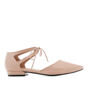 Lace-Up Ballet Flats in Nude Patent