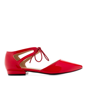 Lace-Up Ballet Flats in Red Patent
