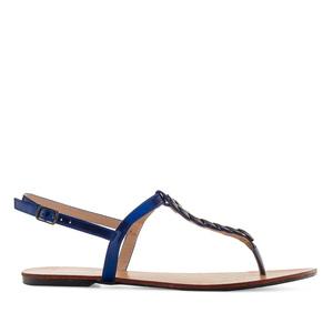 Ravne sandale sa dekorativnim lancem, plave