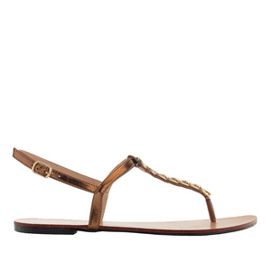Sandalia T-Bar Brillo Cobre