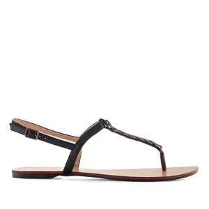 T-Bar Sandals in Shiny Black