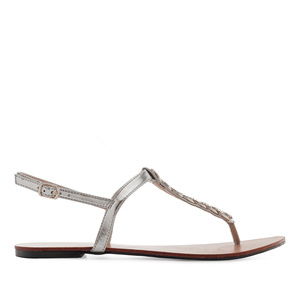 T-Bar Sandals in Shiny Silver