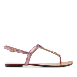 T-Bar Sandals in Shiny Pink