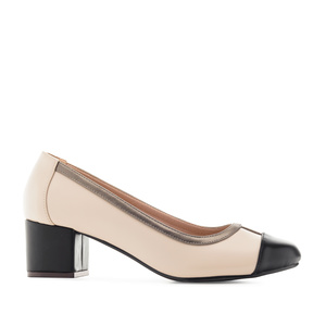 Toe-Cap Heeled Shoes in Beige faux Leather