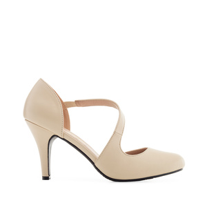 Open-Side Stilettos in Beige faux Leather
