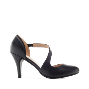 Open-Side Stilettos in Black faux Leather