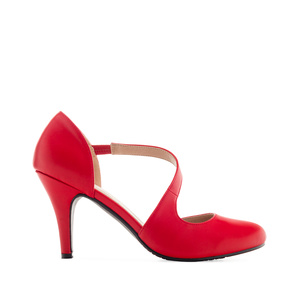 Open-Side Stilettos in Red faux Leather