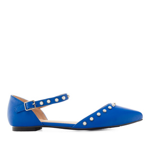 Pearl Ballet Flats in Deep Blue faux Leather