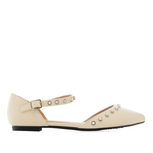 Pearl Ballet Flats in Beige faux Leather