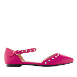 Pearl Ballet Flats in Fuchsia faux Leather