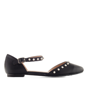 Pearl Ballet Flats in Black faux Leather