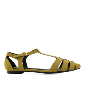 T-Bar Flats in Lime-Yellow Suede