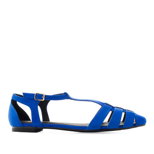 T-Bar Flats in Deep Blue Suede