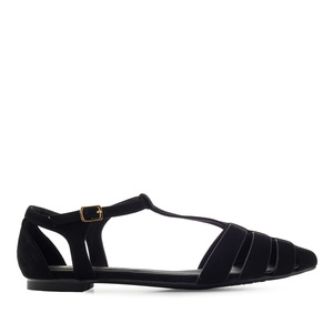 T-Bar Flats in Black Suede
