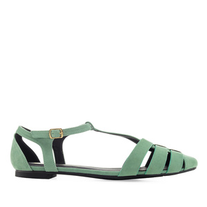 T-Bar Flats in Green Suede