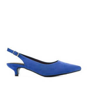 Deep Blue Suede Slingback Sandals