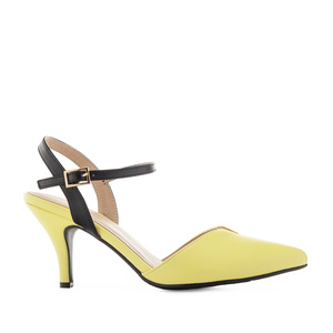 Slingback Shoes in Yellow faux Leather