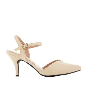 Slingback Shoes in Cream faux Leather