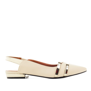 Loafer in Soft Creme mit offener Hacke