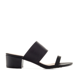 Sandals in Black faux Leather