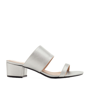 Sandals in Silver faux Leather