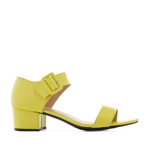 Yellow faux Leather Low-Heeled Sandals