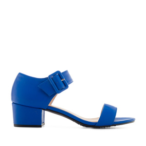 Deep Blue faux Leather Low-Heeled Sandals