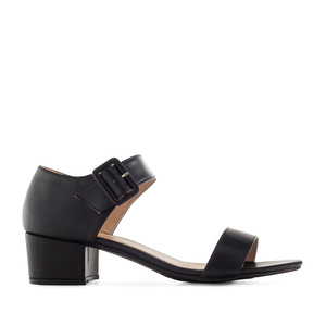 Black faux Leather Low-Heeled Sandals